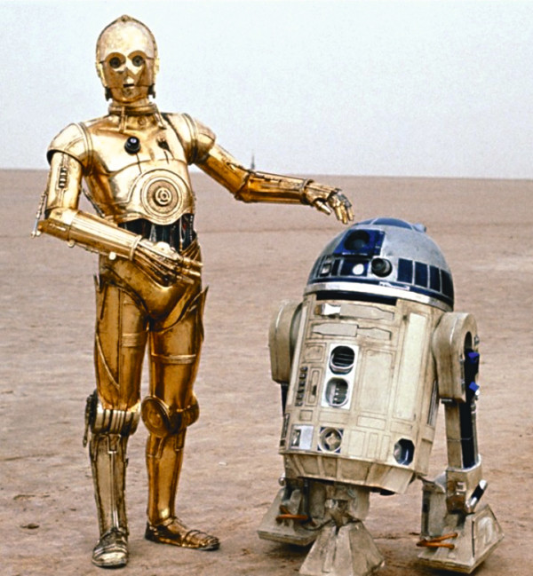 The droids C3PO and R2D2