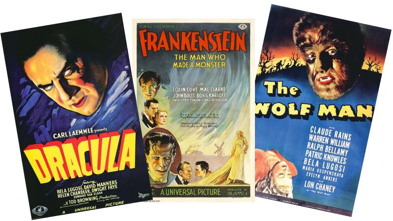 Original Movie Posters for Dracula, Frankenstein and The Wolf Man