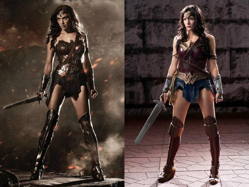 Comparison of Gail Gadot and Methyl Ethyl Cosplay as Wonder Woman