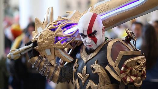"""New York Comic Con cosplayer portraying Kratos from the """"God of War"""" video game series"""