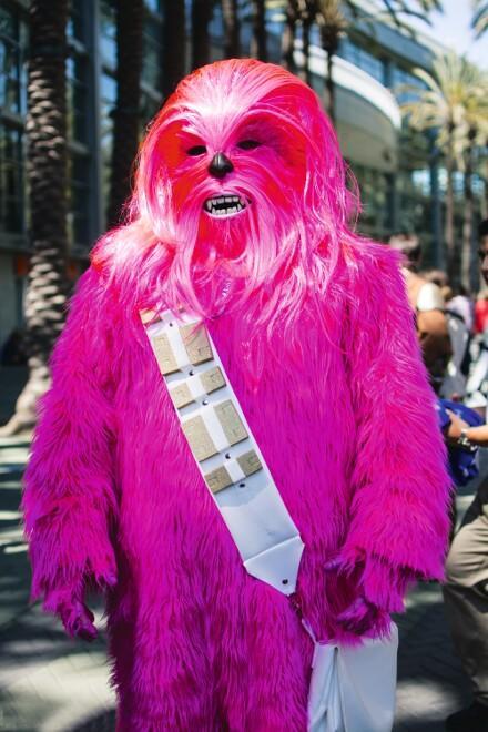 Cosplayer Dressed as a Pink Wookie