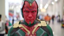 New York Comic Con cosplayer portraying The Vision from The Avengers