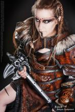 Deakath modelling Fantasy LARP armor