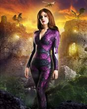 Model In Catsuit with Dragons in Background