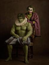 Hulk and Joker Depicted as Flemish School Painting by Sacha Goldberger